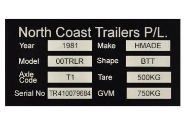 laser engraved compliance plate Durablack