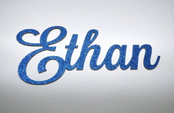 Personalised Glitter Name Wall Sign_Blue