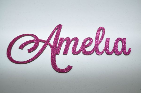 Personalised Glitter Name Wall Sign_Hot Pink