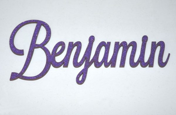 Personalised Glitter Name Wall Sign_Purple
